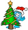 Cartoon Computer Character Standing Beside a Christmas Tree clipart