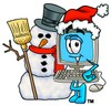 Cartoon Computer Character Beside a Snowman clipart