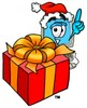 Cartoon Computer Character Beside a Christmas Present clipart