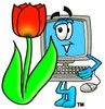 Cartoon Computer Character Beside a Tulip Flower clipart