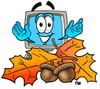 Cartoon Computer Character Beside Fall Colored Leaves and Acorns clipart