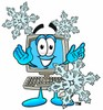 Cartoon Computer Character with Winter Snowflakes clipart