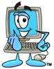 Cartoon Computer Character Pointing Finger Forward clipart