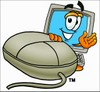 Cartoon Computer Character Using a Mouse clipart