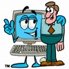 Cartoon Computer Character Beside a Businessman clipart