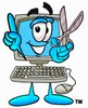 Cartoon Computer Character Holding Scissors and Pointing Finger Up clipart