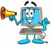 Cartoon Computer Character Holding a Megaphone clipart