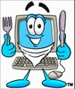 Cartoon Computer Character Holding Silverware clipart