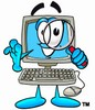 Cartoon Computer Character Looking Through a Magnifying Glass clipart