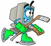 Cartoon Computer Character Playing Ice Hockey clipart