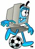 Cartoon Computer Character Playing Soccer clipart