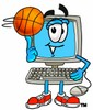 Cartoon Computer Character Playing Basketball clipart
