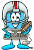 Cartoon Computer Character Playing Football clipart