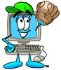 Cartoon Computer Character Playing Baseball clipart