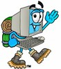 Cartoon Computer Character Hiking clipart