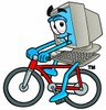 Cartoon Computer Character Bicycling clipart