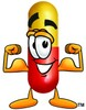 Cartoon Pill Character Flexing Muscles clipart