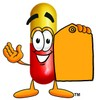 Cartoon Pill Character Holding a Blank Price Tag clipart