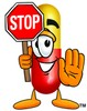Cartoon Pill Character Holding a Stop Sign clipart