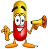 Cartoon Pill Character Holding a Megaphone clipart