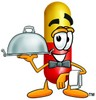 Cartoon Pill Character Holding a Serving Tray clipart