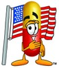 Cartoon Pill Character at Pledge of Allegiance clipart