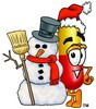 Cartoon Pill Character Beside Snowman clipart