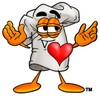 Cartoon Chef Hat Character with a Heart clipart