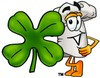 Cartoon Chef Hat Character Beside Four Leaf Clover clipart