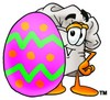 Cartoon Chef Hat Character Beside an Easter Egg clipart
