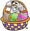 Cartoon Chef Hat Character Behind an Easter Egg Basket clipart