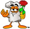 Cartoon Chef Hat Character Holding a Flower clipart