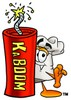 Cartoon Chef Hat Character Beside Dynamite Stick clipart