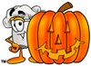 Cartoon Chef Hat Character Beside Halloween Pumpkin clipart