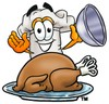 Cartoon Chef Hat Character Uncovering Thanksgiving Turkey clipart