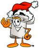 Cartoon Chef Hat Character Wearing a Santa Hat clipart