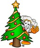 Cartoon Chef Hat Character Beside a Christmas Tree clipart