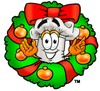 Cartoon Chef Hat Character with a Christmas Wreath clipart