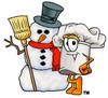 Cartoon Chef Hat Character with Snowman clipart