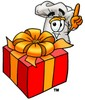 Cartoon Chef Hat Character with a Present clipart