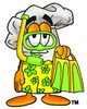 Cartoon Chef Hat Character Wearing Snorkeling Gear clipart