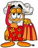 Cartoon Chef Hat Character Wearing Snorkel Gear clipart
