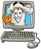 Cartoon Chef Hat Character in a Computer Monitor clipart
