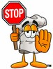 Cartoon Chef Hat Character Holding  a Stop Sign clipart