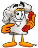 Cartoon Chef Hat Character Holding a Phone clipart