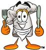 Cartoon Chef Hat Character Holding Silverware clipart