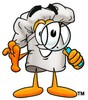 Cartoon Chef Hat Character Looking Through a Magnifying Glass clipart