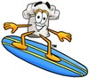 Cartoon Chef Hat Character Surfing clipart