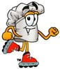 Cartoon Chef Hat Character Rollerblading clipart