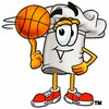 Cartoon Chef Hat Character Playing Basketball clipart